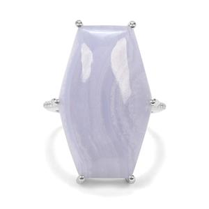 Blue Lace Agate & White Zircon Sterling Silver Ring ATGW 18.52cts
