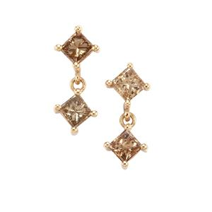 1.06ct Champagne Diamond 10K Gold Tomas Rae Earrings