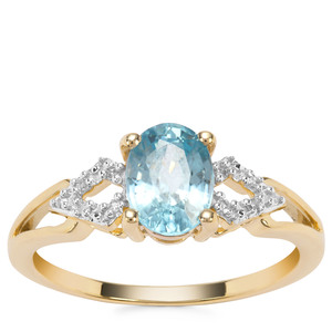 Ratanakiri Blue Zircon Ring with Diamond in 9K Gold 1.97cts