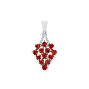 Rajasthan Garnet & White Topaz Sterling Silver Pendant ATGW 3.94cts