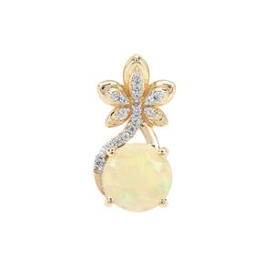 Ethiopian Opal Pendant with White Zircon in 9K Gold 1.30cts