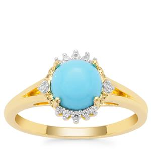 Sleeping Beauty Turquoise Ring with White Zircon in Gold Plated Sterling Silver 1.45cts
