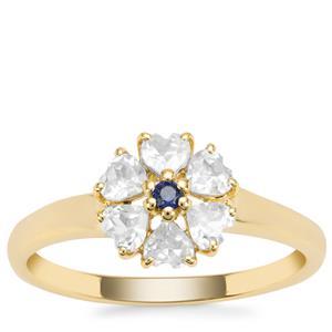 Ratanakiri Zircon Ring with Thai Sapphire in 9K Gold 0.92ct