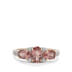 Rosé Apatite Ring with White Zircon in 9K Gold 2.05cts