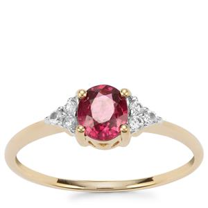 Malawi Garnet Ring with White Zircon in 10k Gold 0.77cts