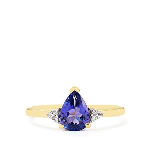 AA Tanzanite Ring with White Zircon in 9K Gold 1.11cts