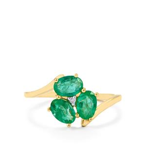 Zambian Emerald Ring with Diamond in 10k Gold 1.34cts