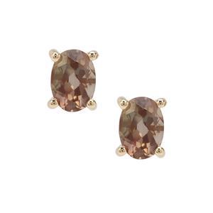 1.50ct Peacock Parti Oregon Sunstone 9K Gold Earrings