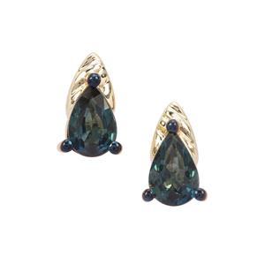 Nigerian Blue Sapphire Earrings in 9K Gold 0.98cts
