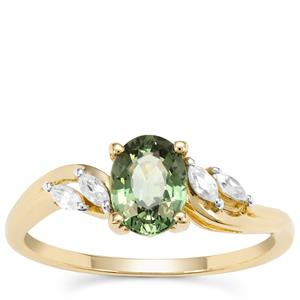 Green Sapphire Ring with White Zircon in 9K Gold 1.40cts