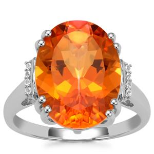 Padparadscha Quartz Ring with White Topaz in Sterling Silver 8.60cts