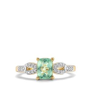 Paraiba Tourmaline Ring with Diamond in 14K Gold 1.13cts
