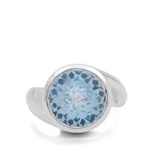 Eden Cut Sky Blue Topaz Ring in Britannia Silver 10.80cts