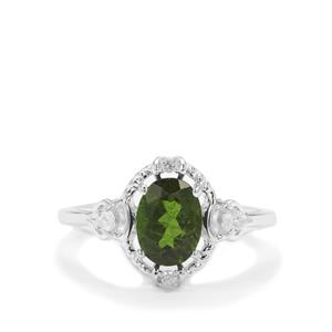 Chrome Diopside Ring with White Zircon in Sterling Silver 1.45cts