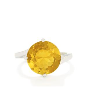7.19ct Golden Fluorite Sterling Silver Ring