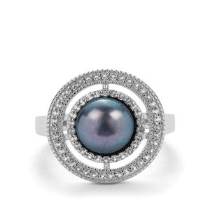 Kaori Cultured Pearl Ring with White Topaz in Sterling Silver