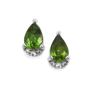 Chrome Diopside Earrings with White Topaz in Sterling Silver 0.86ct