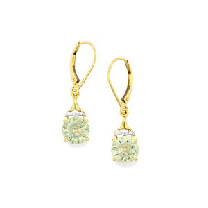 Lehrer QuasarCut Prasiolite Earrings with Diamond in 9K Gold 3cts
