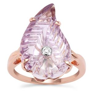 Lehrer Flame Cut Rose De France Amethyst Ring with Diamond in 9K Rose Gold 8.60cts
