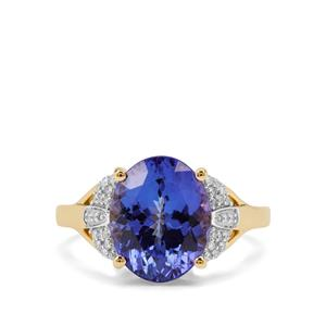 AAA Tanzanite Ring with Diamond in 18K Gold 5.02cts