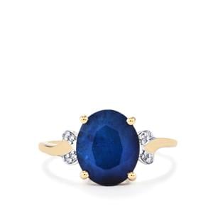 Santorinite™ Blue Spinel Ring with Diamond in 10K Gold 3.37cts