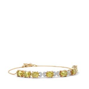 Ambilobe Sphene Bracelet with Diamond in 18K Gold 6cts