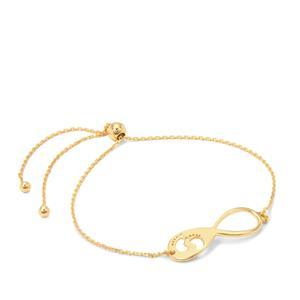 "10"" Midas Altro Diamond Cut Slider Infinity Bracelet 2.20g"