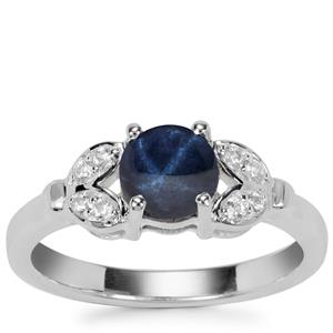 Madagascan Blue Star Sapphire Ring with White Zircon in Sterling Silver 1.68cts