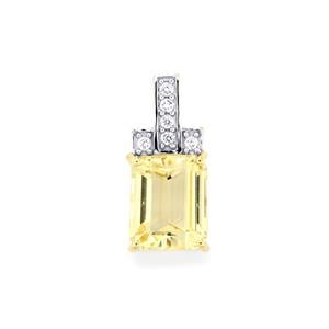 Canary Kunzite Pendant with White Zircon in 9K Gold 4.62cts