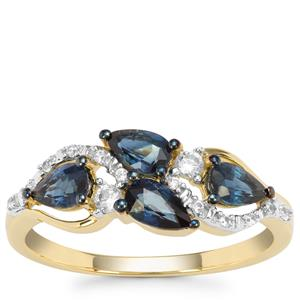 Australian Blue Sapphire Ring with White Zircon in 9K Gold 1.09cts
