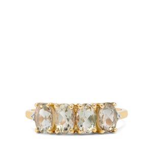 Teal Oregon Sunstone & White Zircon 9K Gold Ring ATGW 1.75cts