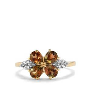 Sopa Andalusite & Diamond 9K Gold Ring ATGW 1.25cts