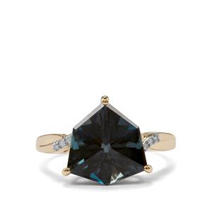 Alpine Cut Marambaia London Blue Topaz Ring with Diamond in 10K Gold 5.59cts
