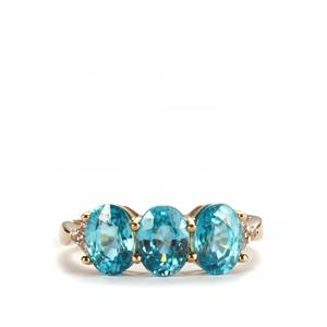 Ratanakiri Blue Zircon Ring with White Zircon in 10K Gold 4.44cts