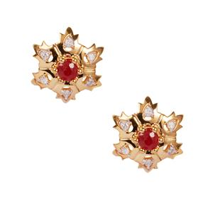 Thai Ruby Earrings with Diamond in 10K Gold 0.36ct