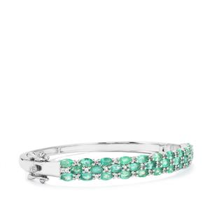 Zambian  Emerald Oval Bangle with White Topaz in Sterling Silver 7.55cts