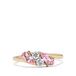 Imperial Pink Topaz & White Zircon 10K Gold Ring ATGW 1cts