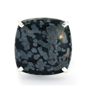 32.15ct Snowflake Obsidian Sterling Silver Aryonna Ring