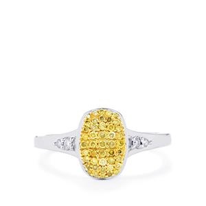 Natural Yellow Diamond Ring with White Diamond in Sterling Silver 0.27ct