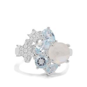 Rainbow Moonstone, Sky Blue Topaz & White Zircon Sterling Silver Ring ATGW 4.64cts