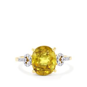 Ambilobe Sphene Ring with Diamond in 18K Gold 4.02cts