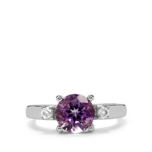 Moroccan Amethyst Ring with White Topaz in Sterling Silver 1.91cts