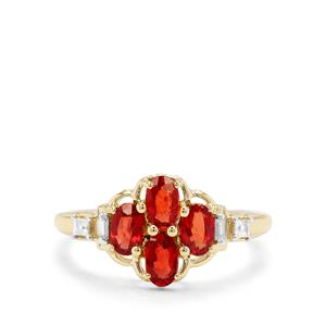 Songea Ruby & White Zircon 9K Gold Ring ATGW 1.30cts