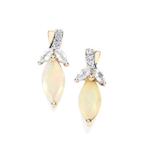 Ethiopian Opal Earrings with White Zircon in 9K Gold 1.77cts
