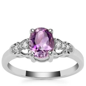 Moroccan Amethyst Ring with White Zircon in Sterling Silver 1.19cts