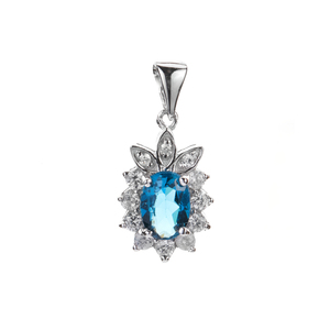 Ceylonese London Blue Topaz & White Zircon Pendant in Sterling Silver 1.48ts