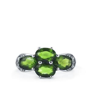 Chrome Diopside & White Topaz Sterling Silver Ring ATGW 3.40cts