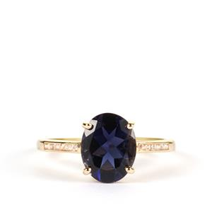 Bengal Iolite Ring with White Zircon in 9K Gold 2.18cts