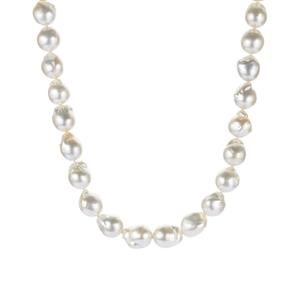 South Sea Cultured Pearl Sterling Silver Graduated Necklace