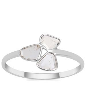 Polki Diamond Ring in Sterling Silver 0.30ct